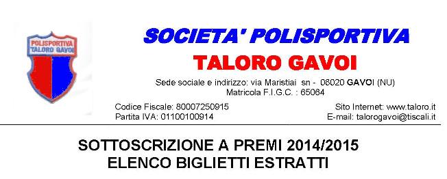 TUTTI I NUMERI DELLA SOTTOSCRIZIONE A PREMI 2014/2015