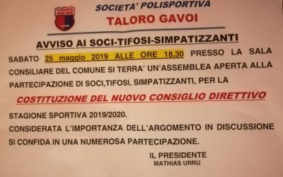 ASSEMBLEA dei SOCI DEL TALORO GAVOI
